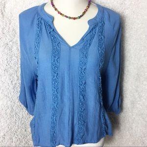 Lola Blue V Neck Top
